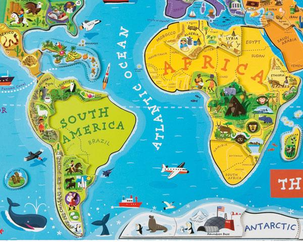七大洲英文手绘地图